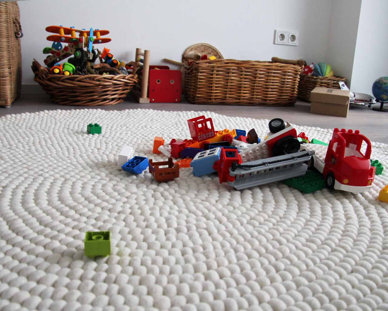 wooden box lego colours round rug
